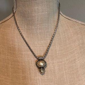 Brighton pearl/gold reversible pendant necklace